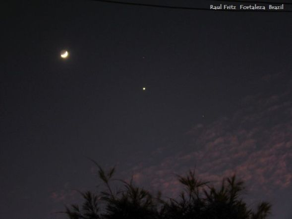 The crescent Moon, Venus and other planets