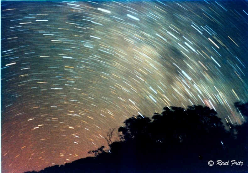 The southern sky in star trails