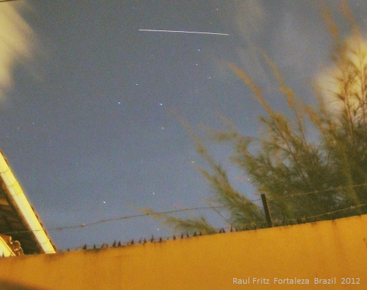 The path of the ISS (during 10 seconds) across the sky of Fortaleza City